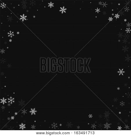 Sparse Snowfall. Corner Frame On Black Background. Vector Illustration.