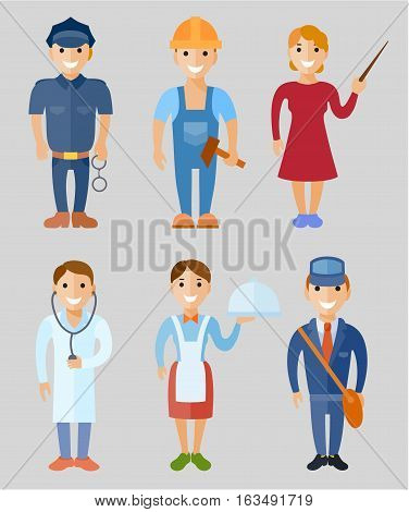 Vector illustration set of people of different professions: policeman worker teacher doctor waitress postman in flat style