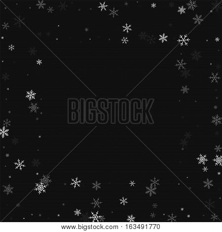 Sparse Snowfall. Square Scattered Frame On Black Background. Vector Illustration.