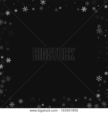 Sparse Snowfall. Square Scattered Border On Black Background. Vector Illustration.