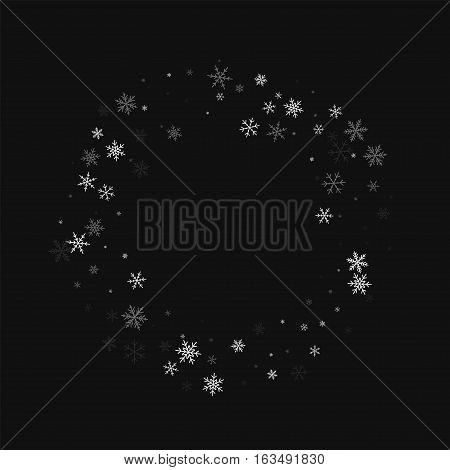 Sparse Snowfall. Bagel Frame On Black Background. Vector Illustration.