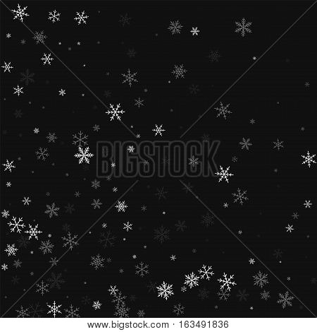 Sparse Snowfall. Abstract Mess On Black Background. Vector Illustration.