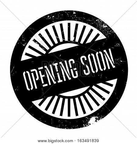 Opening soon stamp. Grunge design with dust scratches. Effects can be easily removed for a clean, crisp look. Color is easily changed.