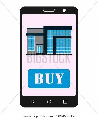 Smartphone with realty app. House sale. Realty selling application.Vector illustration