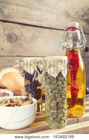 Glass Jar Of Capers. Mediterranean Food.