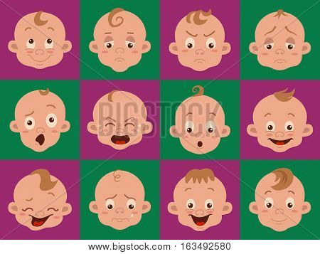 Baby facial expression isolated icons on white background. Cute color vector illustration of boy baby showing different emotions smiling, sad, surprised, crying, shy, laugh happy in flat style.