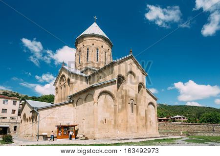 Mtskheta, Georgia. The View Of Samtavro Transfiguration Orthodox Church, The Part Of Samtavro Monastery Complex With Nunnery Of St. Nina In Sunny Day Under Blue Sky.