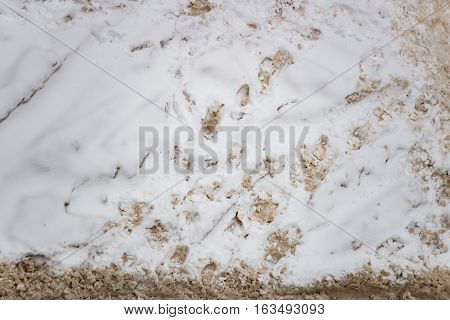 Snow and slush footprints on the road in winter