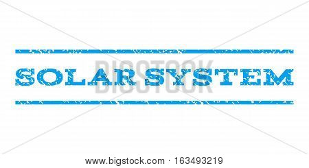Solar System watermark stamp. Text caption between horizontal parallel lines with grunge design style. Rubber seal stamp with unclean texture. Vector blue color ink imprint on a white background.