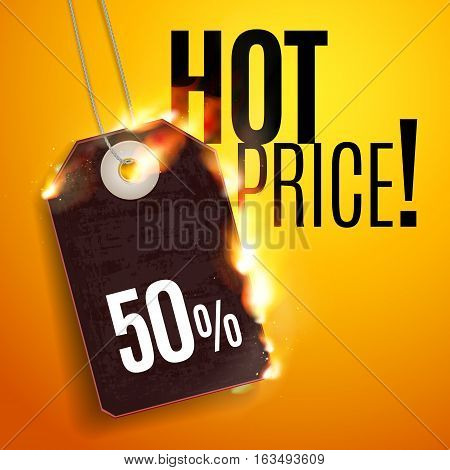 Sale Design with Fire. Hot Sale. Vector illustration