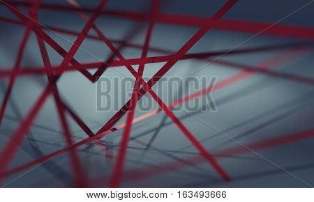 Crossing red ribbons forming a heart shape in space