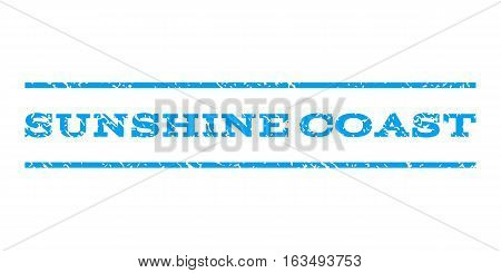 Sunshine Coast watermark stamp. Text tag between horizontal parallel lines with grunge design style. Rubber seal stamp with scratched texture. Vector blue color ink imprint on a white background.