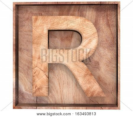 3D Decorative Wood Alphabet Capital Letter R In Wooden Box