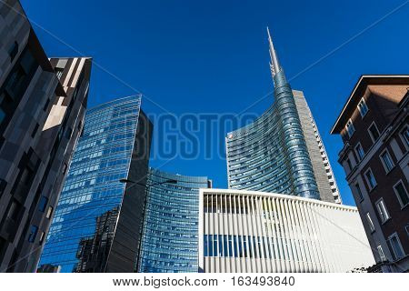 Uni Credit Tower Business Area Milan Italy Destination Travel Sightseeing Modern Glass Buildings, Ta