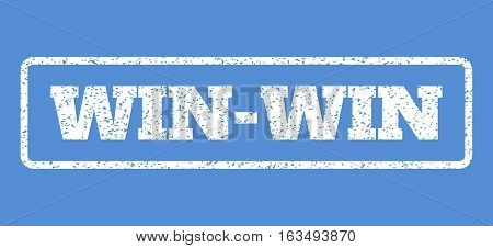 White rubber seal stamp with Win-Win text. Vector message inside rounded rectangular shape. Grunge design and dirty texture for watermark labels. Horisontal emblem on a blue background.