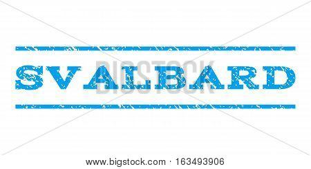 Svalbard watermark stamp. Text caption between horizontal parallel lines with grunge design style. Rubber seal stamp with scratched texture. Vector blue color ink imprint on a white background.