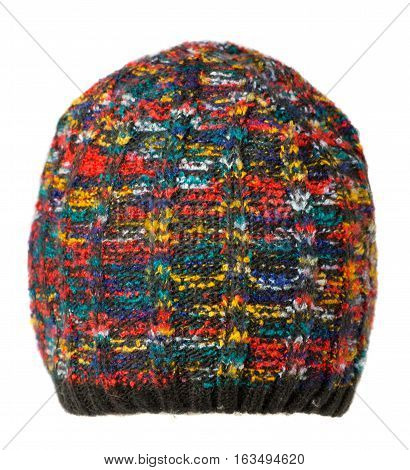 Hat Isolated On White Background .knitted Hat.multicolored Hat.