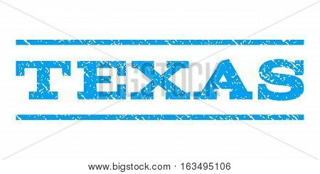 Texas watermark stamp. Text tag between horizontal parallel lines with grunge design style. Rubber seal stamp with dust texture. Vector blue color ink imprint on a white background.