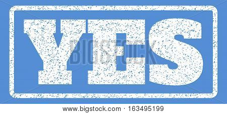 White rubber seal stamp with Yes text. Vector tag inside rounded rectangular frame. Grunge design and dirty texture for watermark labels. Horisontal sign on a blue background.