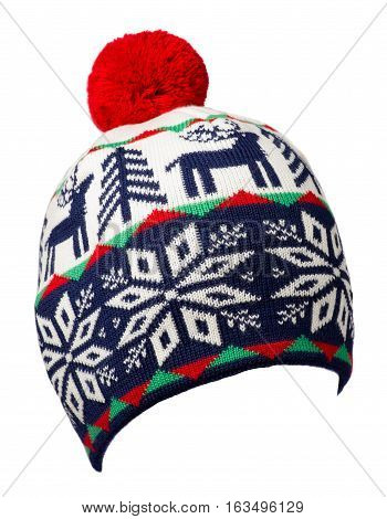 Knitted Hat Isolated On White Background .hat With Pompon .  Blue Red White  Hat