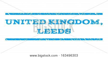 United Kingdom, Leeds watermark stamp. Text tag between horizontal parallel lines with grunge design style. Rubber seal stamp with dirty texture. Vector blue color ink imprint on a white background.