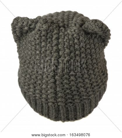 Women's Hat . Knitted Hat Isolated On White Background.gray.