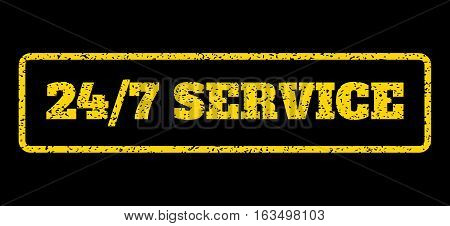 Yellow rubber seal stamp with 24-7 Service text. Vector caption inside rounded rectangular shape. Grunge design and dirty texture for watermark labels. Horisontal sign on a blue background.