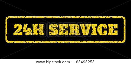Yellow rubber seal stamp with 24H Service text. Vector caption inside rounded rectangular banner. Grunge design and dirty texture for watermark labels. Horisontal emblem on a blue background.