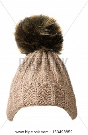 Women's Knitted Hat Isolated On White Background.hat With Pompon . Beige Hat .