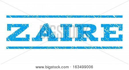 Zaire watermark stamp. Text caption between horizontal parallel lines with grunge design style. Rubber seal stamp with unclean texture. Vector blue color ink imprint on a white background.
