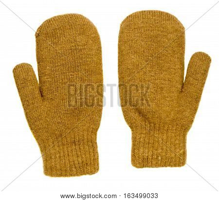 Mitten Isolated On White Background. Knitted Mittens. Mittens Top View.mittens Mustard Color.