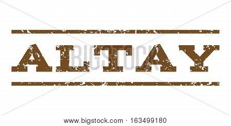 Altay watermark stamp. Text caption between horizontal parallel lines with grunge design style. Rubber seal stamp with scratched texture. Vector brown color ink imprint on a white background.