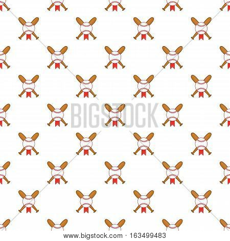 Crossed baseball bats and ball pattern. Cartoon illustration of crossed baseball bats and ball vector pattern for web