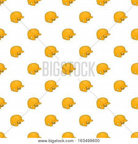 Yellow baseball helmet pattern. Cartoon illustration of yellow baseball helmet vector pattern for web
