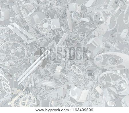 Clockwork parts abstract large group 3d illustration, horizontal background