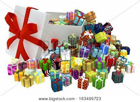 Gifts large group 3d illustration, big box open, over white