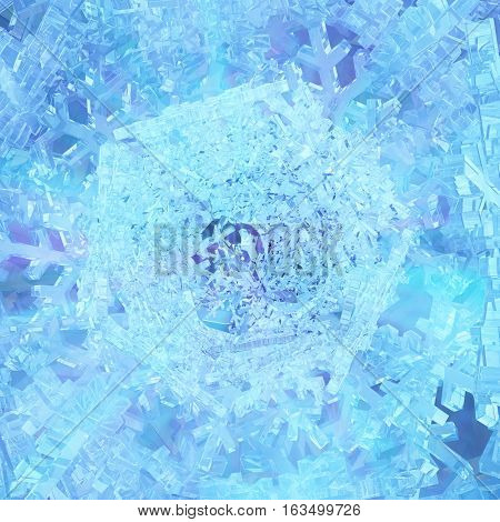 Icy snowflake blue light abstract 3d illustration, square