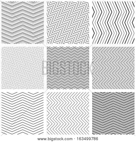 Zigzag seamless pattern set. Vector zig zag black simple line patterns. Set of linear monochrome wrapping decoration. Vector illustration