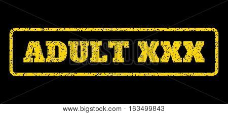 Yellow rubber seal stamp with Adult XXX text. Vector tag inside rounded rectangular banner. Grunge design and dirty texture for watermark labels. Horisontal sign on a blue background.