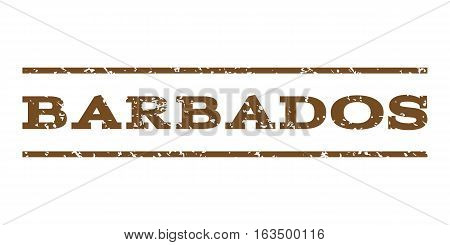 Barbados watermark stamp. Text tag between horizontal parallel lines with grunge design style. Rubber seal stamp with dust texture. Vector brown color ink imprint on a white background.