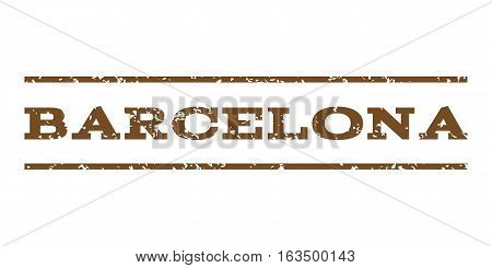 Barcelona watermark stamp. Text tag between horizontal parallel lines with grunge design style. Rubber seal stamp with unclean texture. Vector brown color ink imprint on a white background.