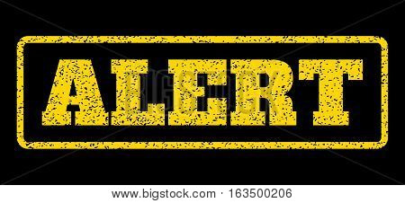 Yellow rubber seal stamp with Alert text. Vector message inside rounded rectangular banner. Grunge design and dirty texture for watermark labels. Horisontal sticker on a blue background.