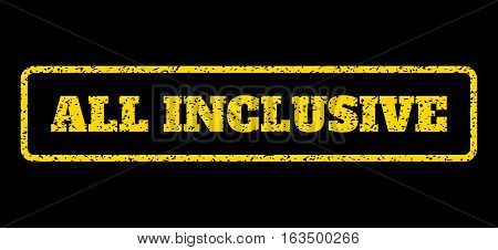 Yellow rubber seal stamp with All Inclusive text. Vector caption inside rounded rectangular frame. Grunge design and dust texture for watermark labels. Horisontal sticker on a blue background.