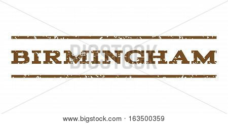 Birmingham watermark stamp. Text caption between horizontal parallel lines with grunge design style. Rubber seal stamp with dirty texture. Vector brown color ink imprint on a white background.