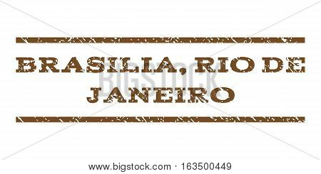 Brasilia, Rio De Janeiro watermark stamp. Text caption between horizontal parallel lines with grunge design style. Rubber seal stamp with dirty texture.