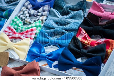 Collection elegant bow ties of various colors