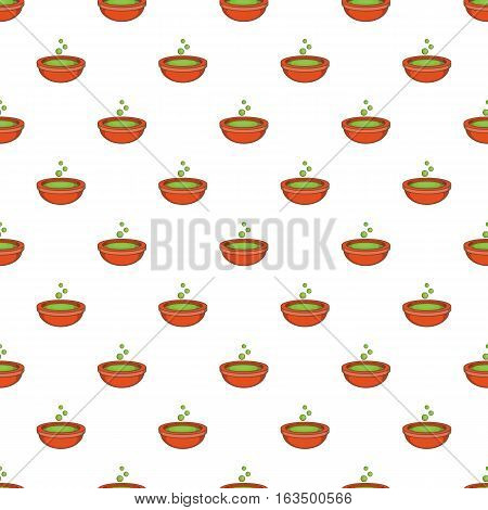 Bowl with green potion pattern. Cartoon illustration of bowl with green potion vector pattern for web