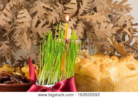 Orthodox Christmas Offerings With Growing Wheat