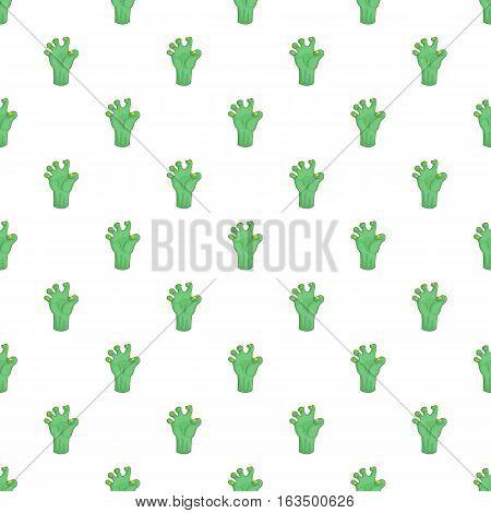 Green zombie hand pattern. Cartoon illustration of green zombie hand vector pattern for web