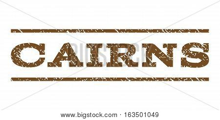 Cairns watermark stamp. Text caption between horizontal parallel lines with grunge design style. Rubber seal stamp with unclean texture. Vector brown color ink imprint on a white background.